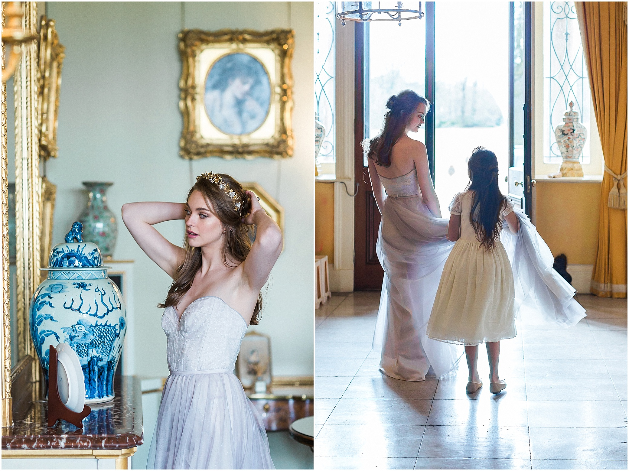 Bride getting ready with flower girl at Somerley House