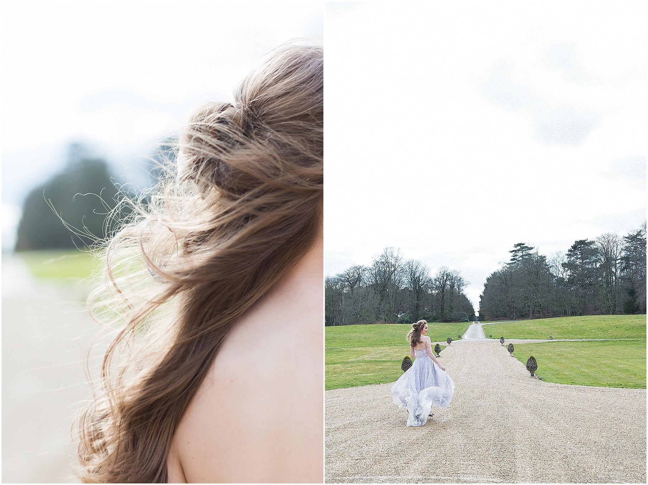 bridal hair blowing in wind and bride walking down drive at Somerley House