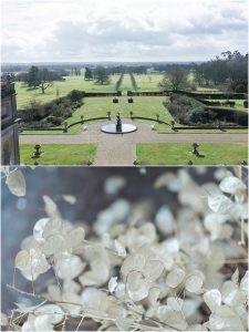 View of the formal gardens at Somerley House and floral detail