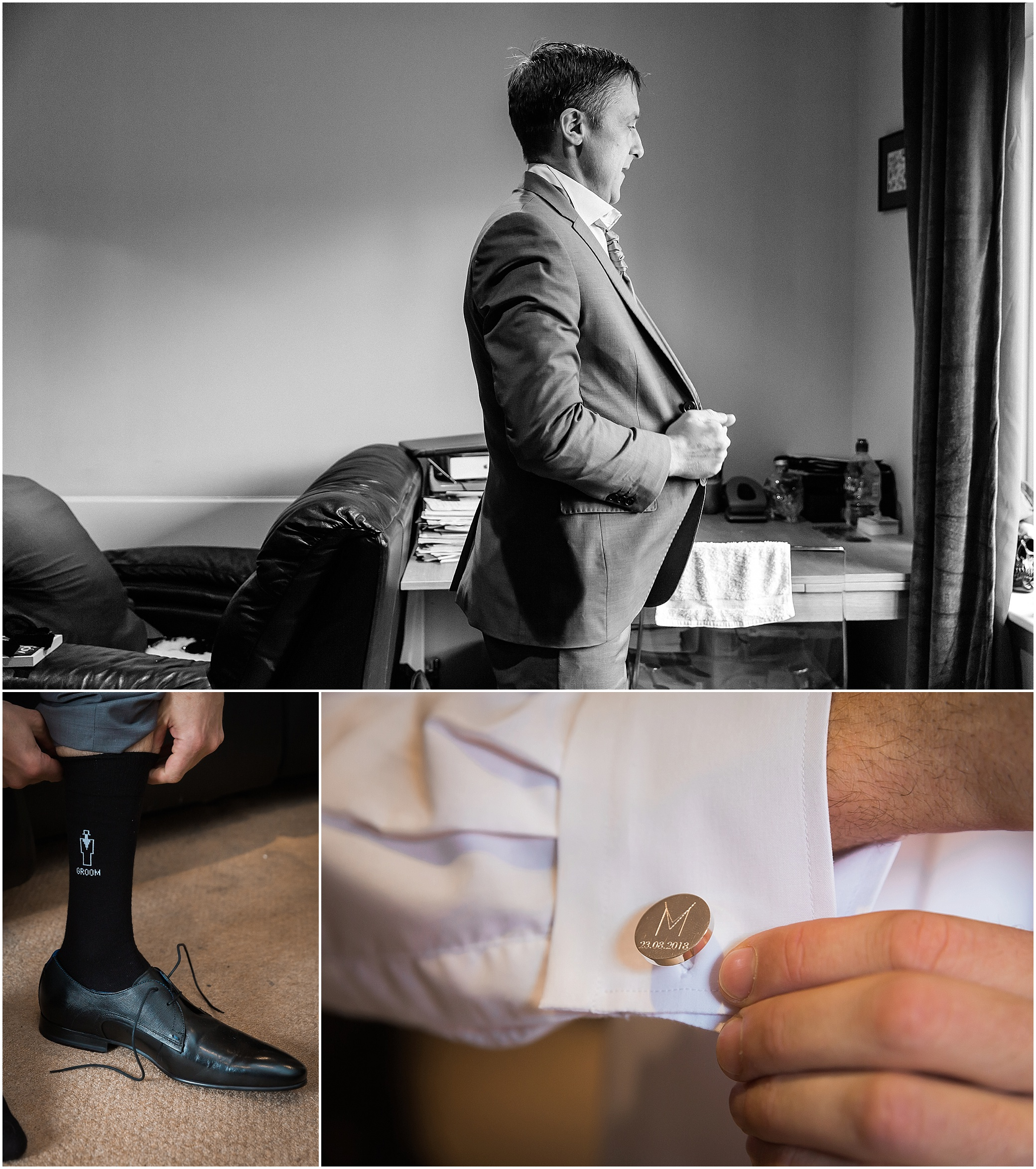 Groom getting ready for his wedding in London