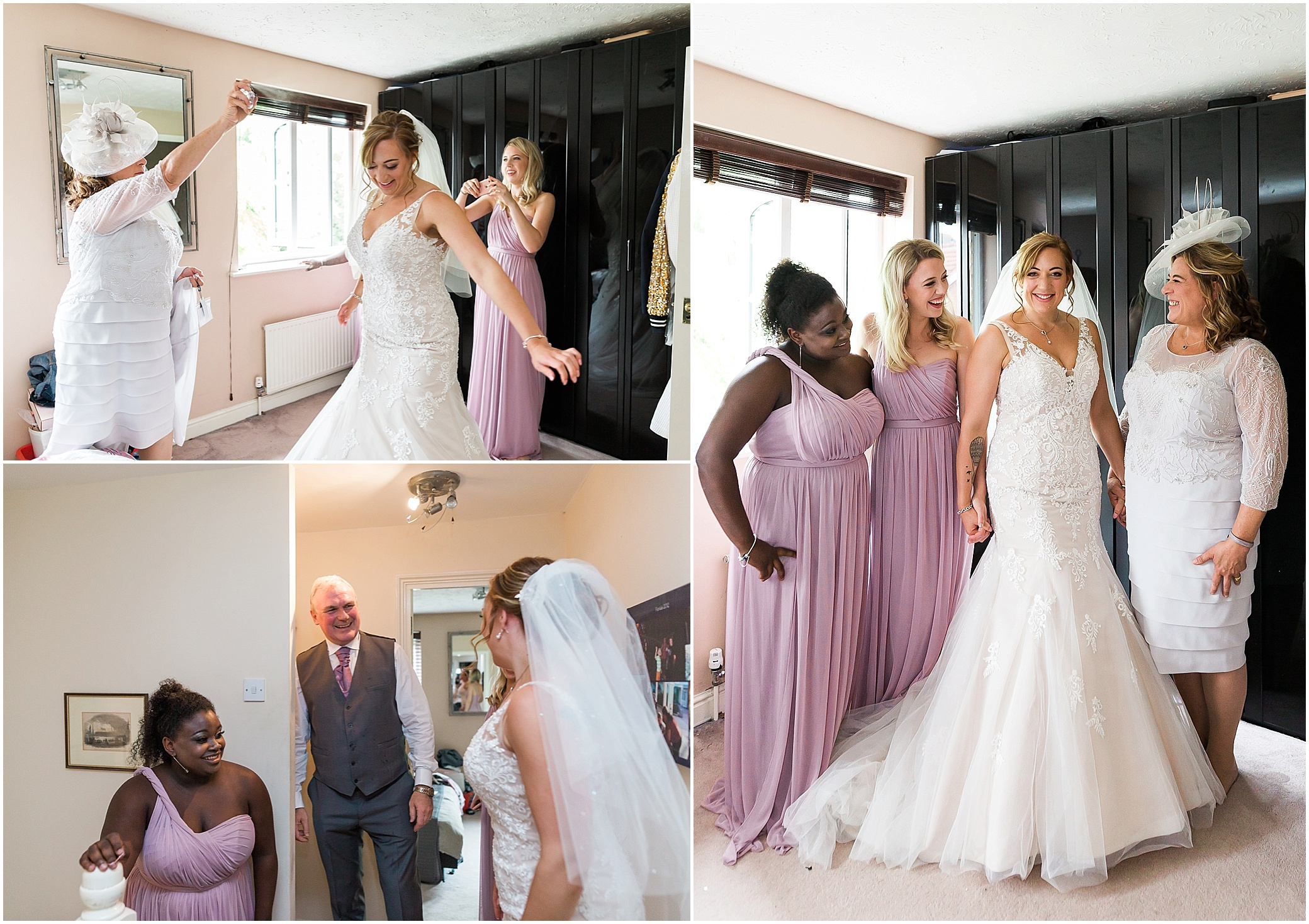 Bridal party getting ready for her wedding in London
