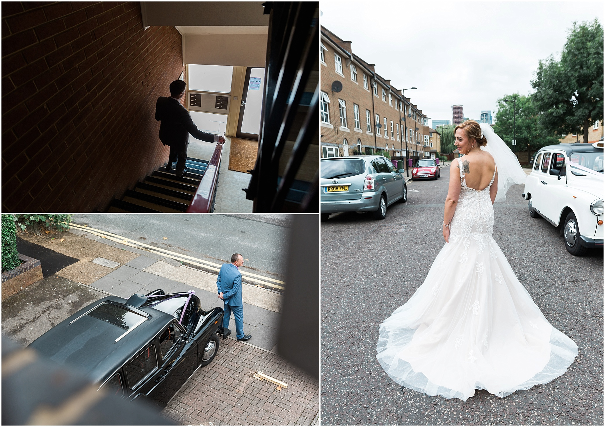 Bride and groom getting ready for their wedding in London