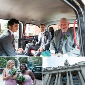 Groom and bridesmaids arriving at a wedding at Marylebone Town hall in London