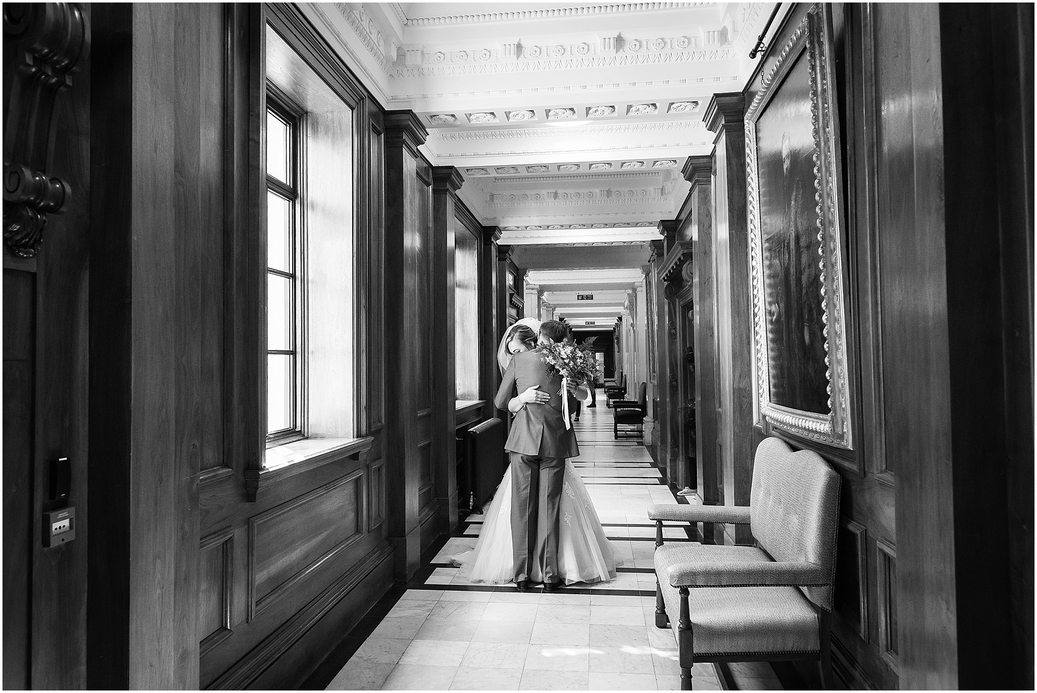 Bride and groom's first look at Marylebone Town Hall in London