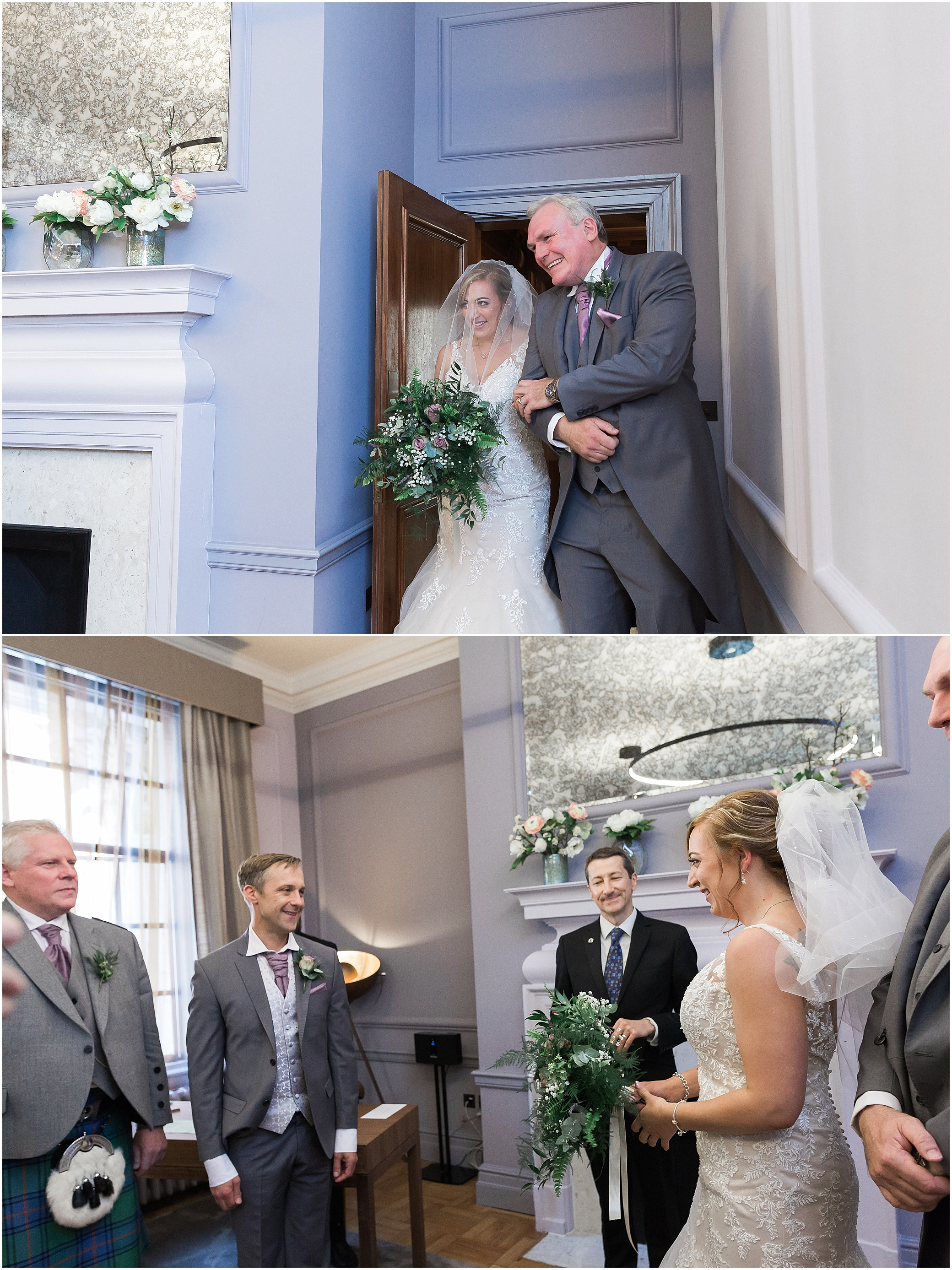 Bride entering ceremony room for her wedding at Marylebone town hall in London