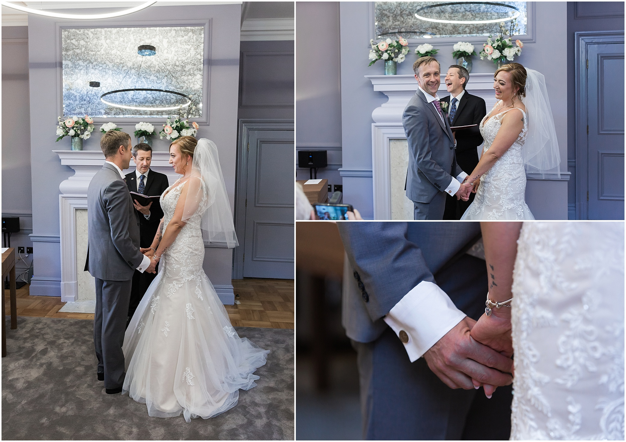 Couple getting married in the Knightsbridge room at Marylebone town hall in London