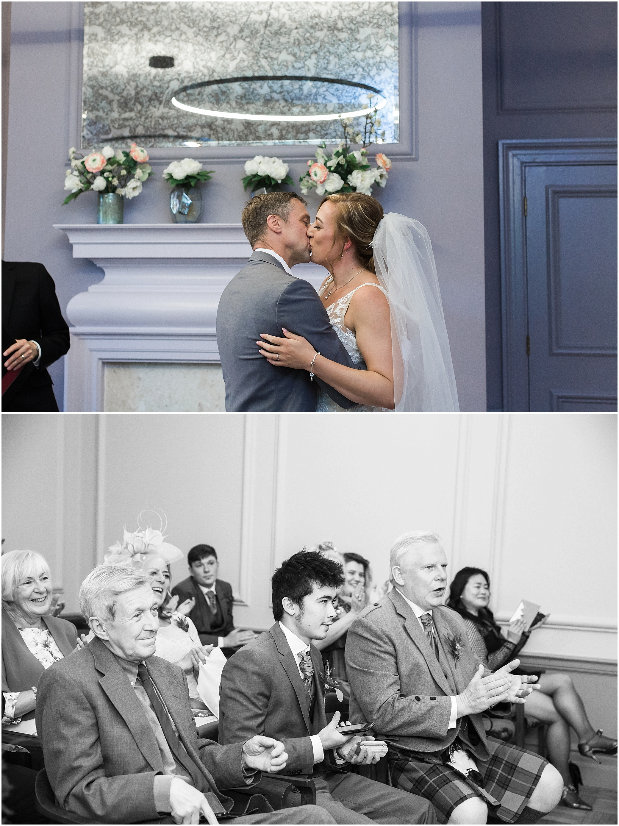 Couple getting married at their wedding in the Knightsbridge room at Marylebone town hall in London
