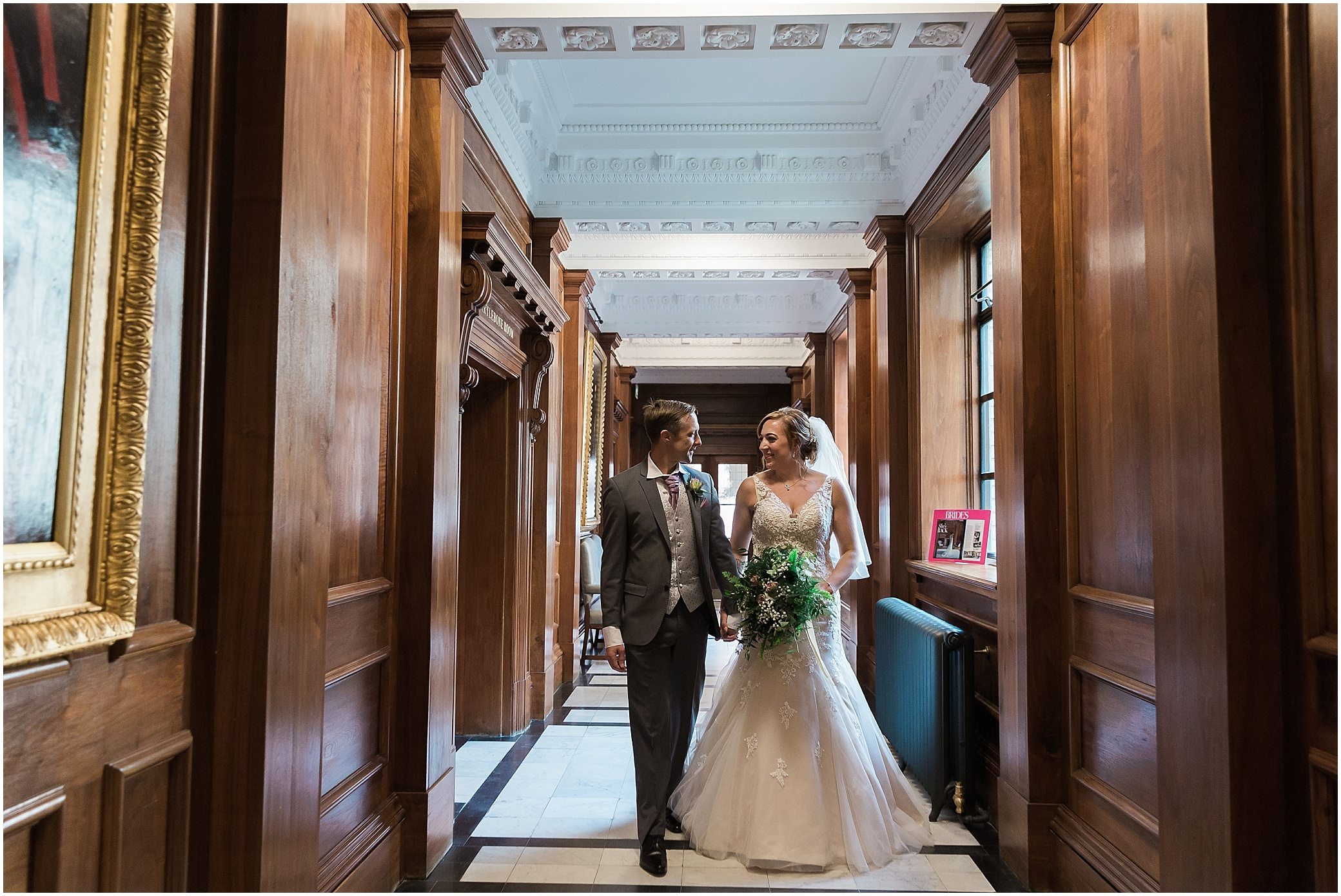 Couple just married in the Knightsbridge room at Marylebone town hall in London