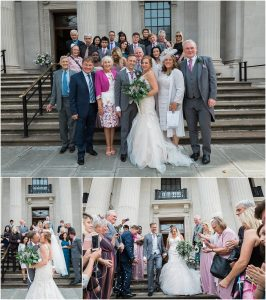 Couple just married in the Knightsbridge room at Marylebone town hall in London with confetti and guests