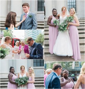 Guests outside Marylebone town hall in London after a wedding