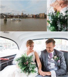 Just married couple in white London taxi travelling to their Swan at the Globe wedding reception in London