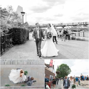 Just married couple walking along the Southbank in London.