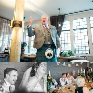 Best man gives a wedding speech at The Swan at Shakespeare's Globe on the Southbank, London