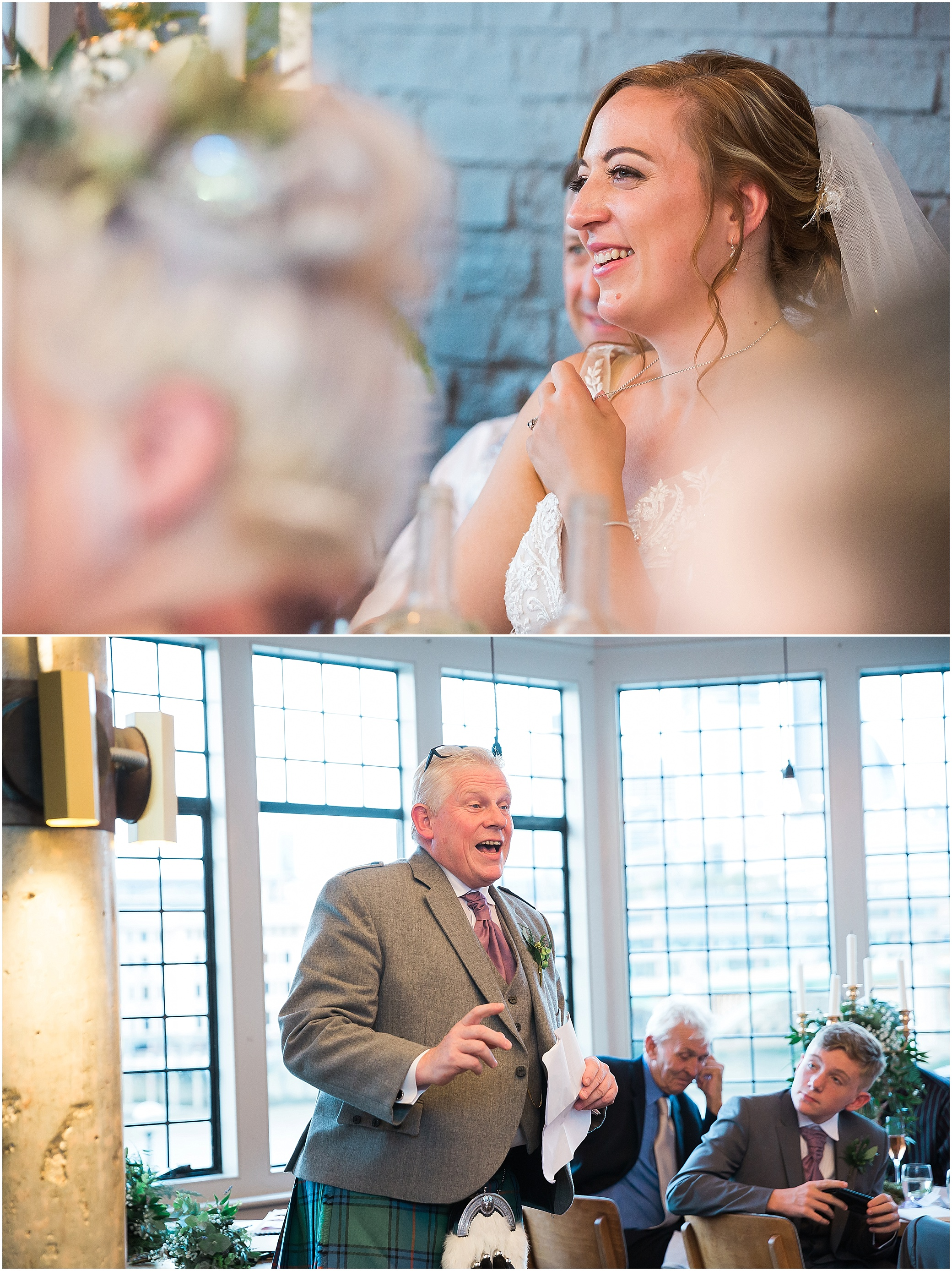Guests laugh as best man gives a wedding speech at The Swan at Shakespeare's Globe on the Southbank, London