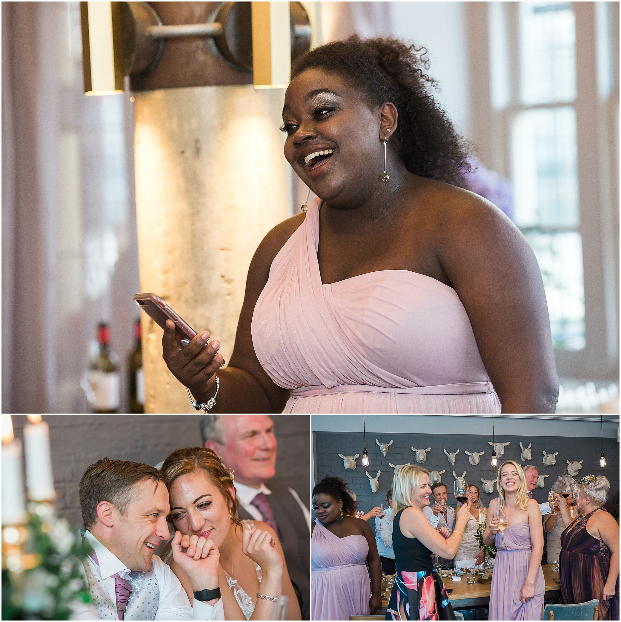 Bridesmaid gives a wedding speech at The Swan at Shakespeare's Globe on the Southbank, London