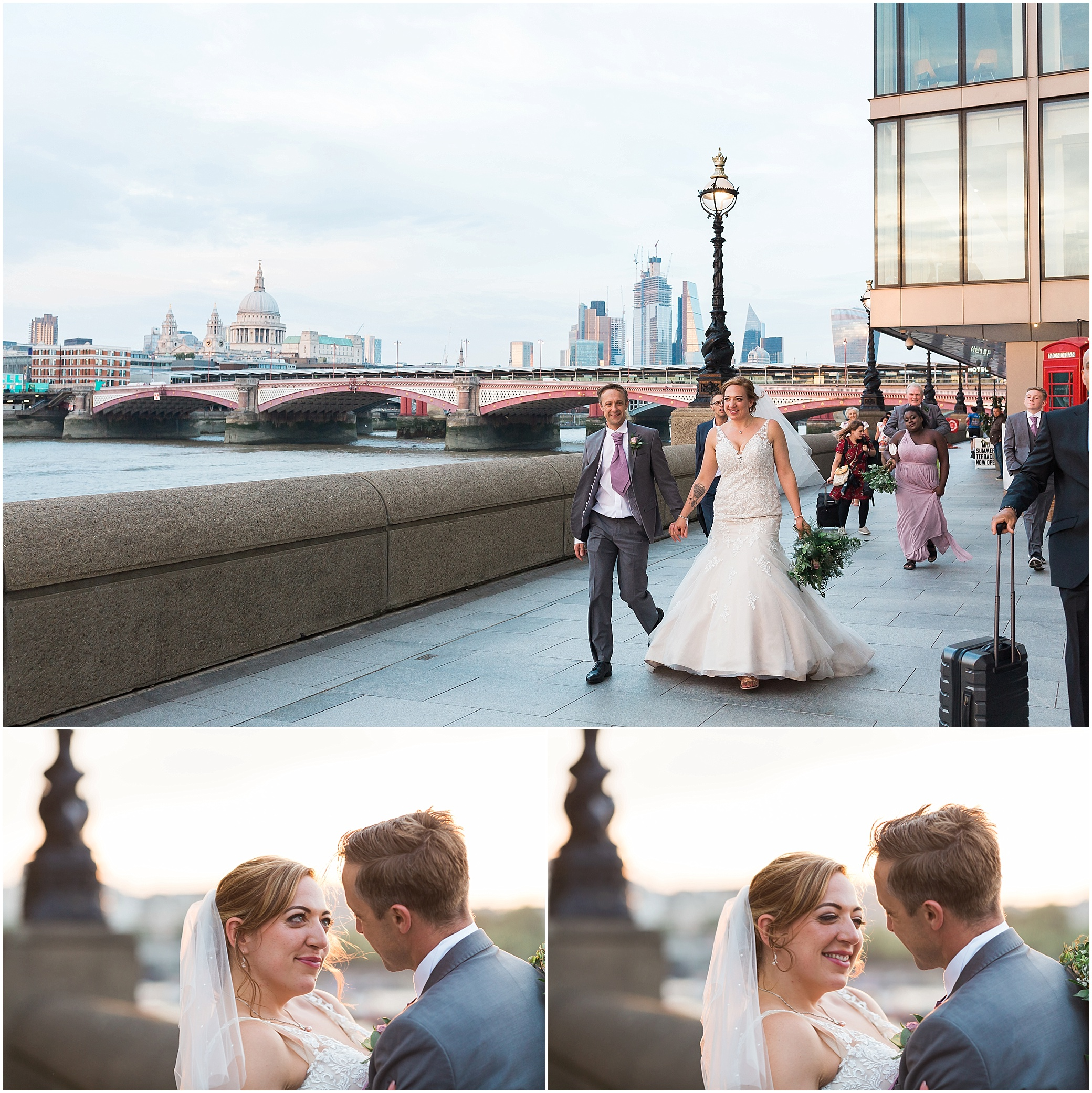 Bride and groom walking along the Southbank in London after their Shakespeare's Globe wedding
