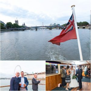 Wedding boat on the river Thames in London