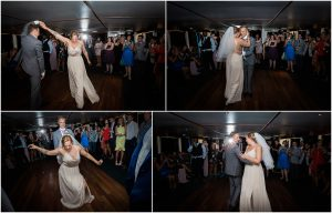 Bride and groom first dance on their wedding boat on the Thames in London