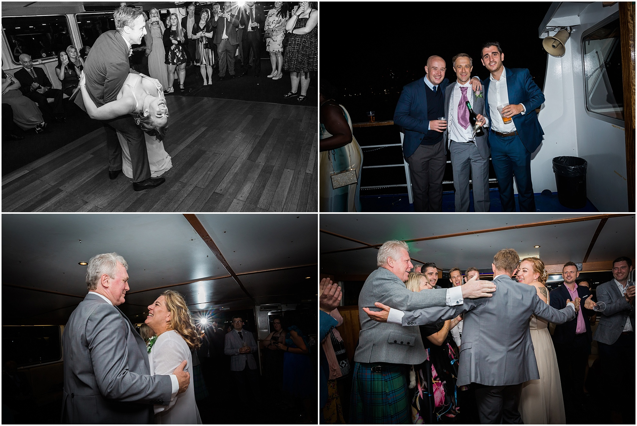Guests enjoying a wedding reception on a river boat on the Thames in London