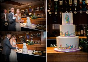 Bride and groom cutting the cake on a riverboat on the Thames in London