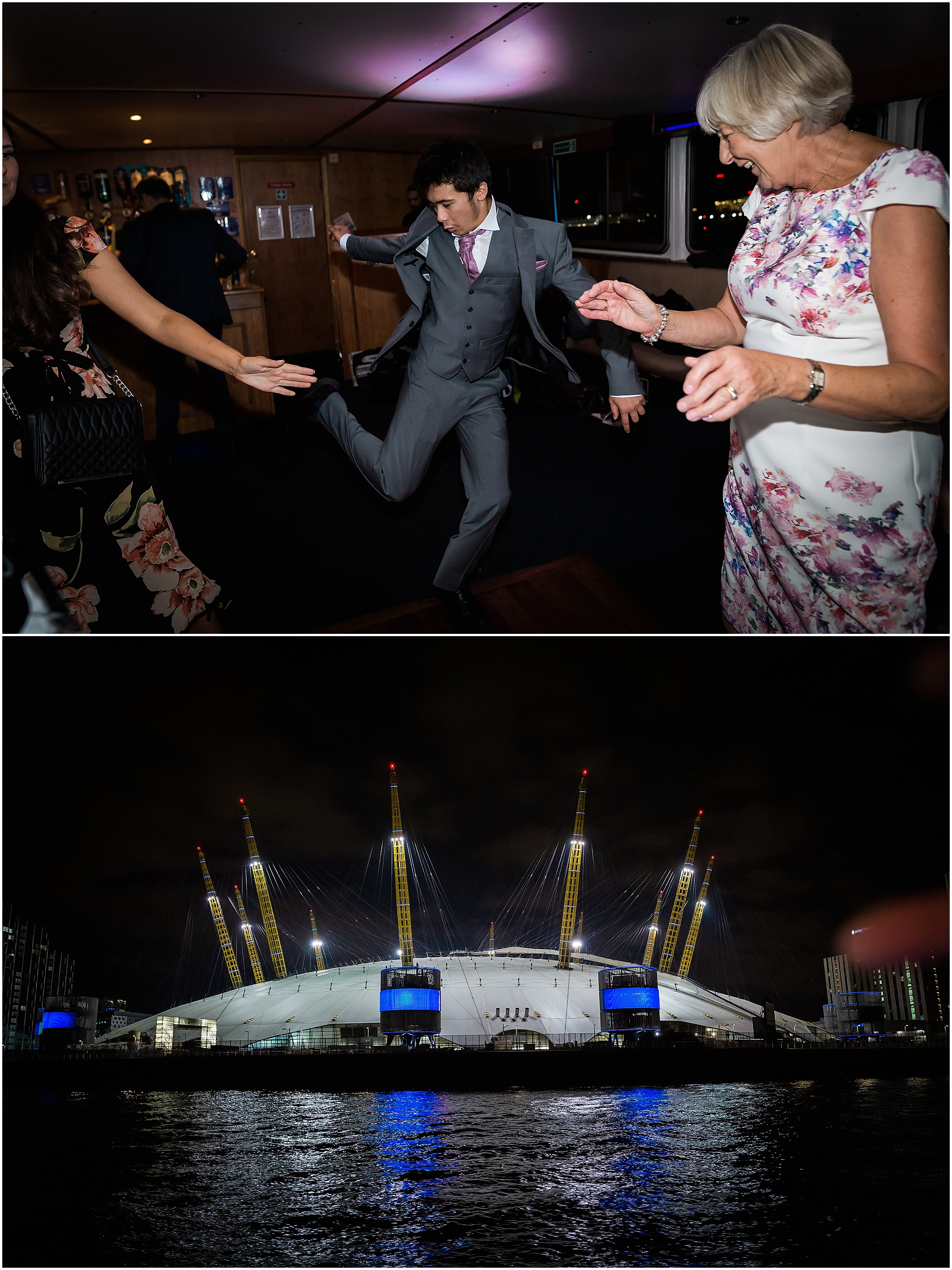 Wedding reception dancing on a riverboat on the Thames in London with the O2 arena