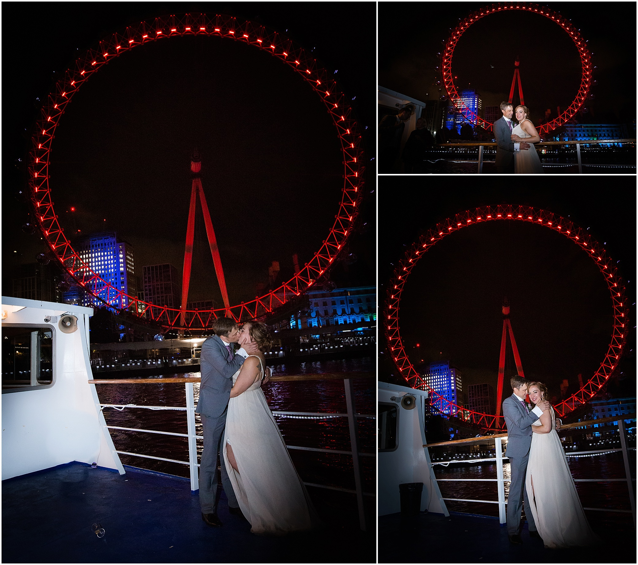 Bride and groom kiss under the London Eye at their wedding party on a London riverboat