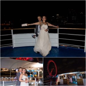 Bride and groom at their wedding party on a London riverboat