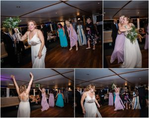 Bride throwing the bouquet at their wedding party on a London riverboat