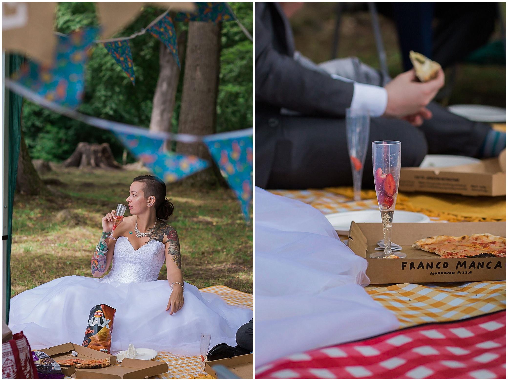 lockdown wedding picnic on Boxhill