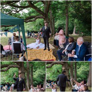 lockdown wedding picnic on Boxhill Surrey