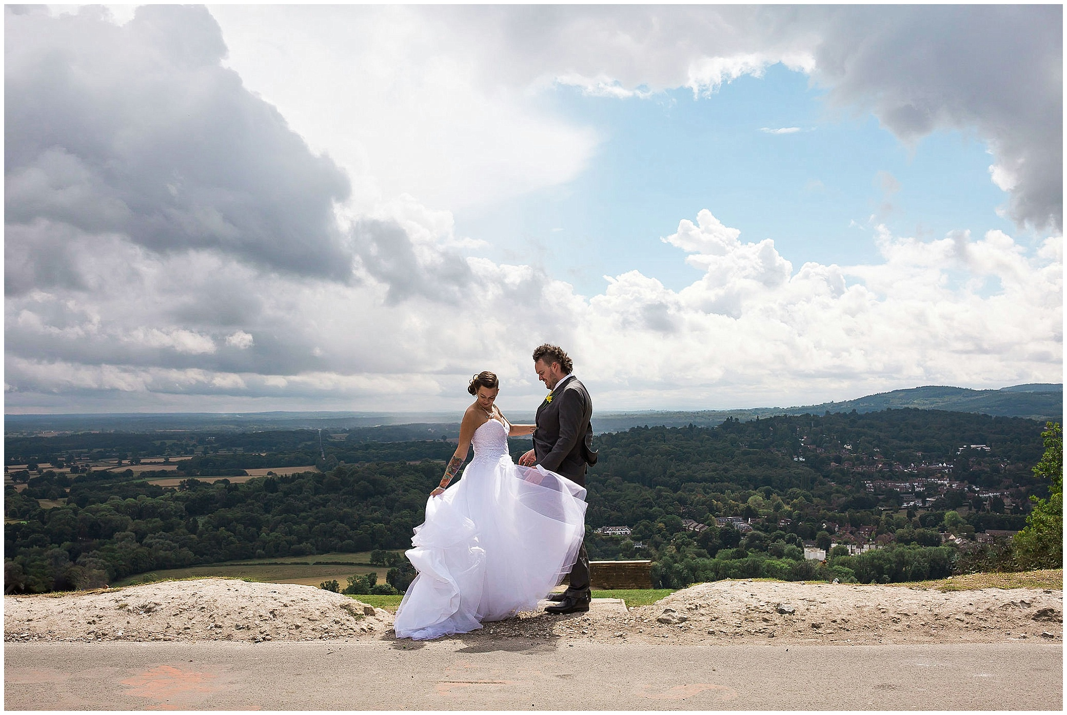 bride and groom portrait on Boxhill Surrey