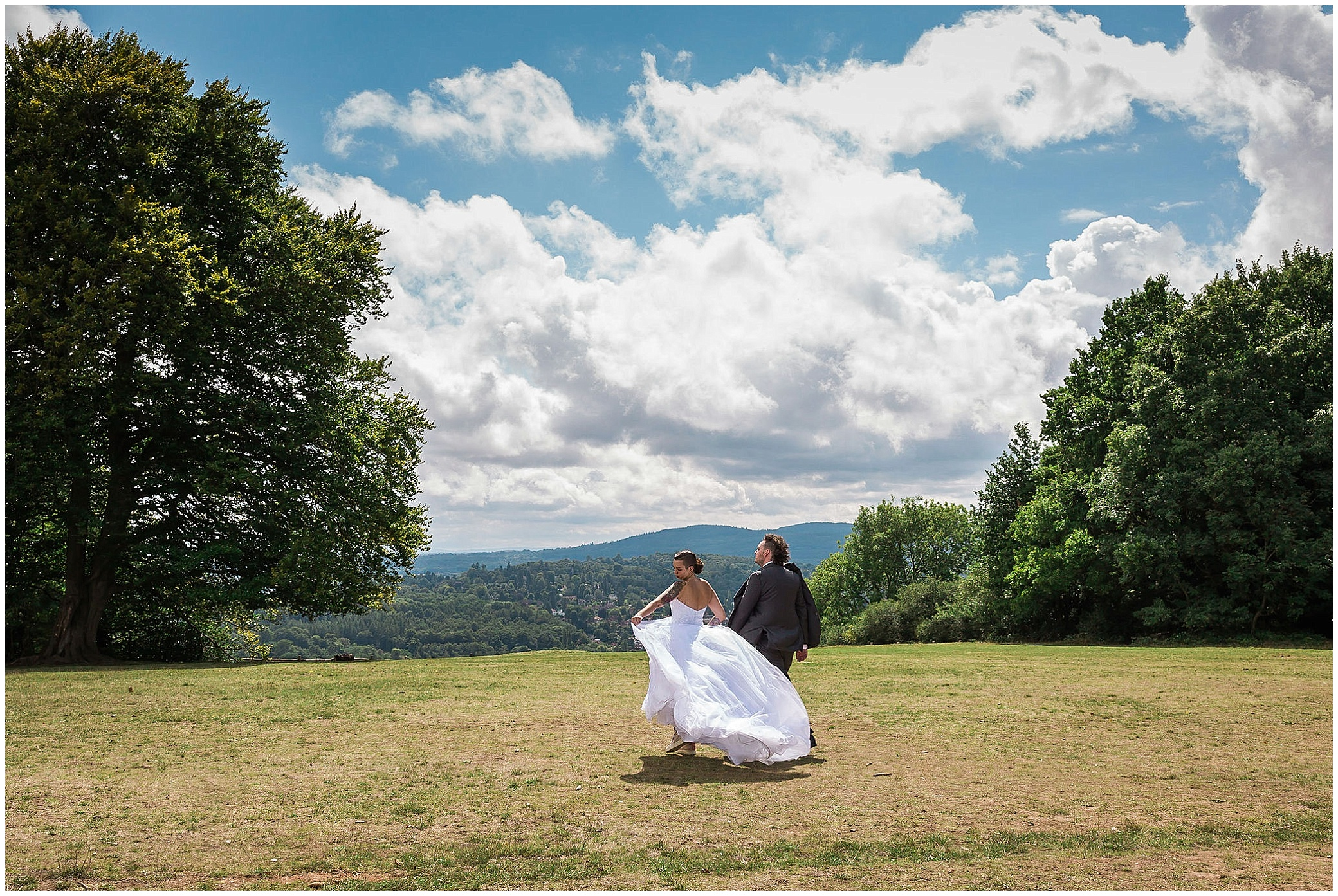 bride and groom on Boxhill