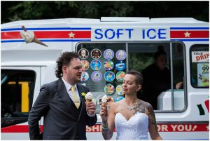 bride and groom enjoying fresh icecream
