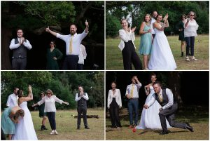 wedding party playing garden games