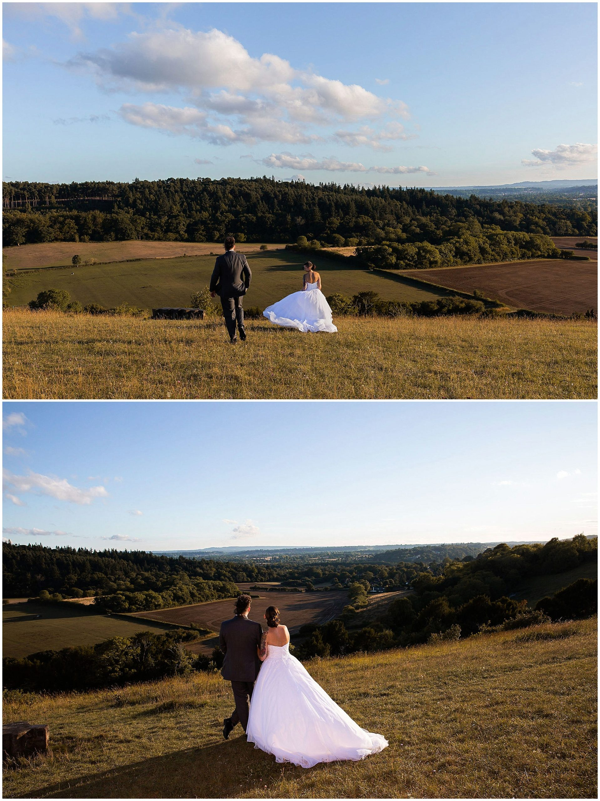 Intimate Surrey wedding portraits in Pewley Downs Guildford Surrey