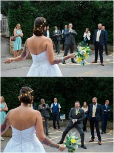 Bride greets her groom and wedding party