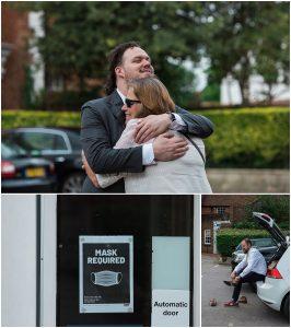 groom hugging mother
